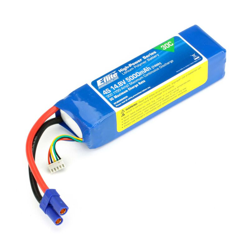 14.8V 5000mAh 4S 30C LiPo Battery: EC5