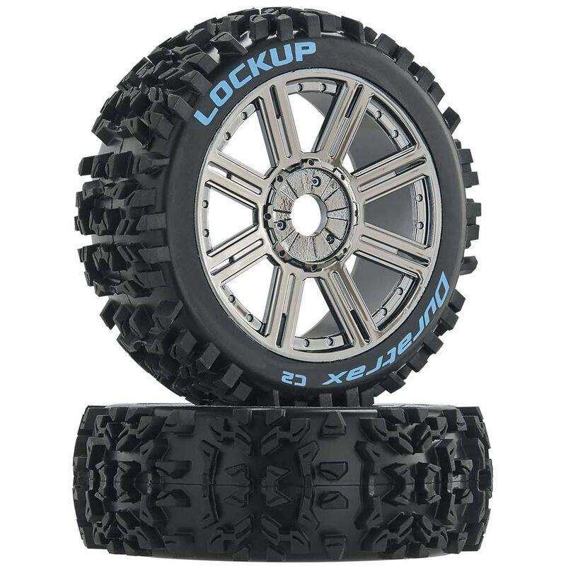 Lockup 1/8 C2 Mounted Buggy Spoke Tires, Chrome (2)