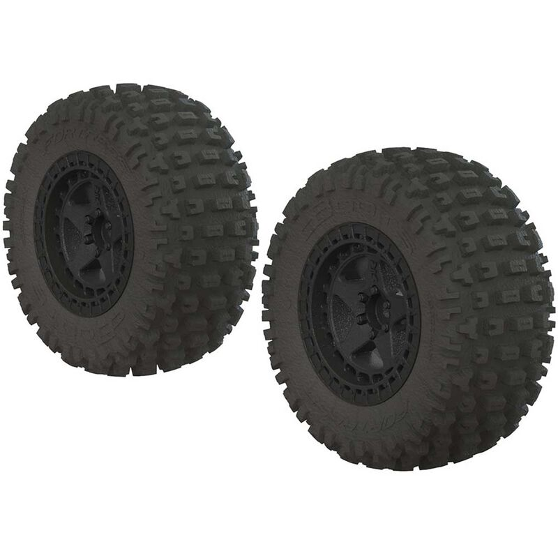 1/10 dBoots Fortress SC 2.2/3.0 Pre-Mounted Tires, 14mm Hex, Black (2)