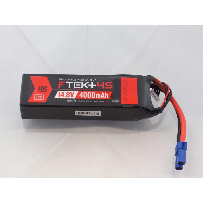 F-TEK+ 4S 4000mAh (14,8V) 40C LiPo Akku mit LED-Indikator (EC5)
