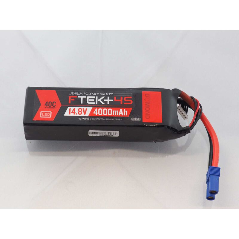 F-TEK+ 4S 4000mAh 40C LiPo w LED Indicator (EC5)