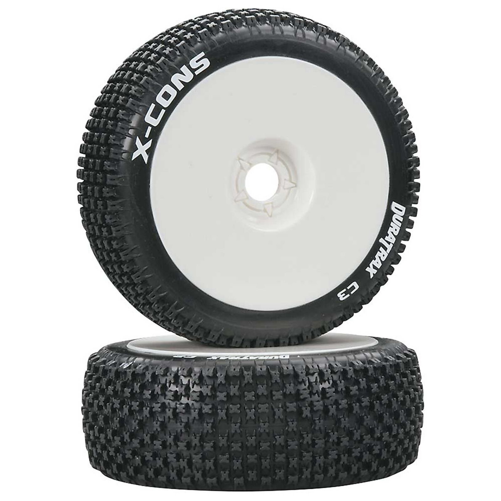 X-Cons 1/8 C3 Mounted Buggy Tires, White (2)