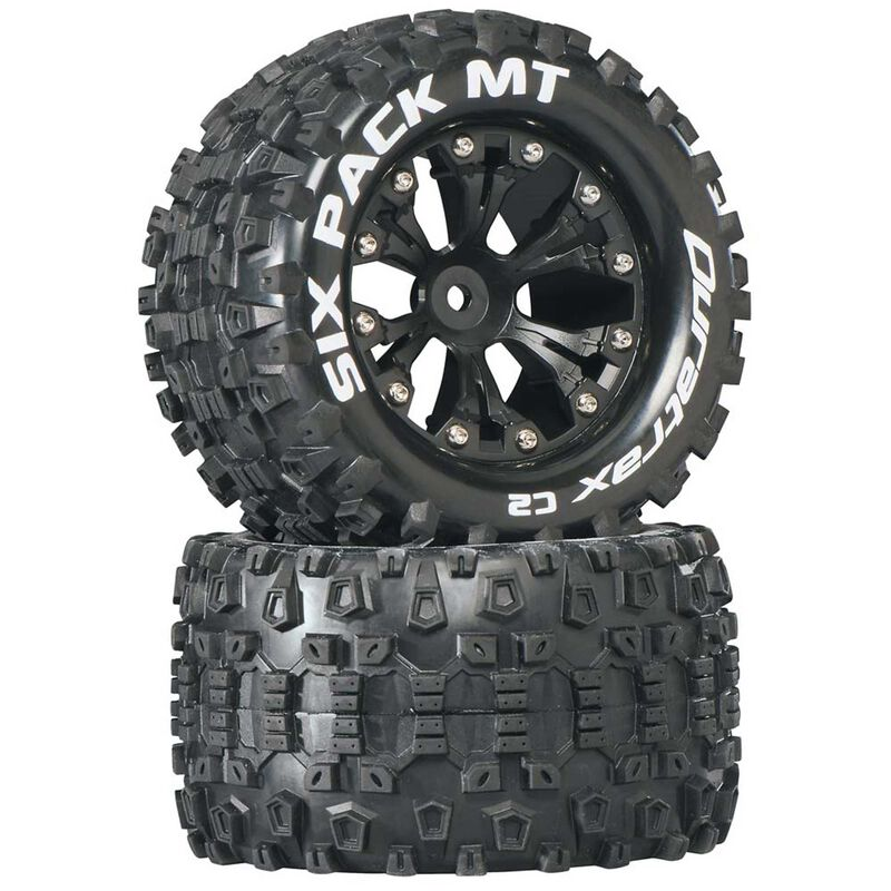 """Six-Pack MT 2.8"""" 2WD Mounted Rear C2 Tires, Black (2)"""