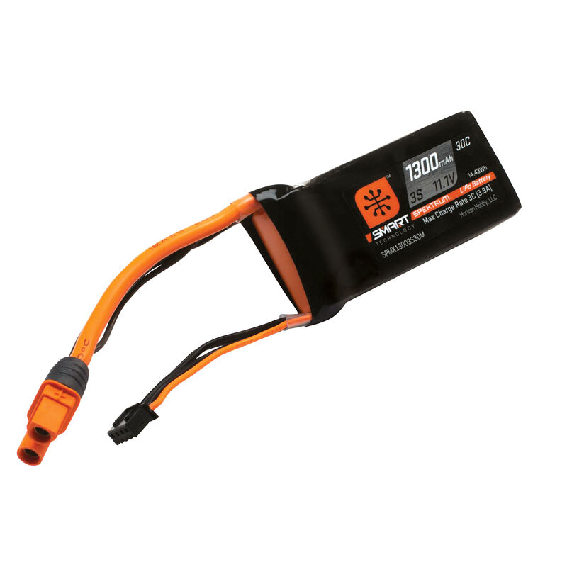 11.1V 1300mAh 3S 30C Smart LiPo Battery: IC3