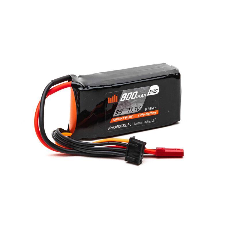 11.1V 800mAh 3S 50C LiPo Battery: JST