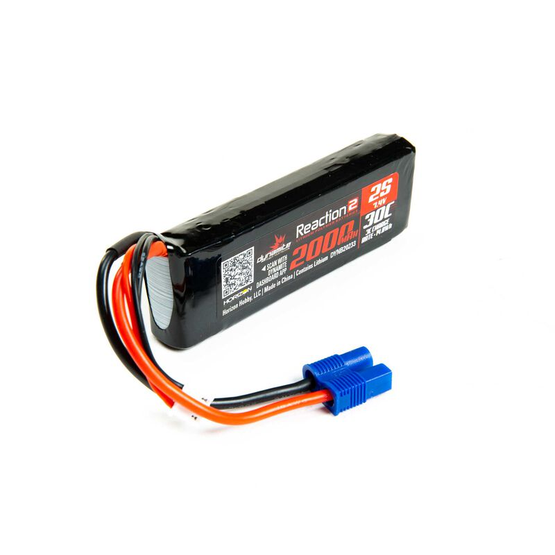 7.4V 2000mAh 2S 30C Reaction 2.0 LiPo Battery: EC3