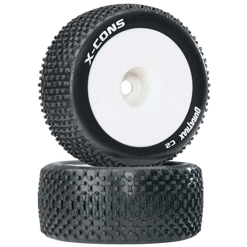 "X-Cons 1/8 Mounted 1/2"" Offset C2 Truggy Tires (2)"