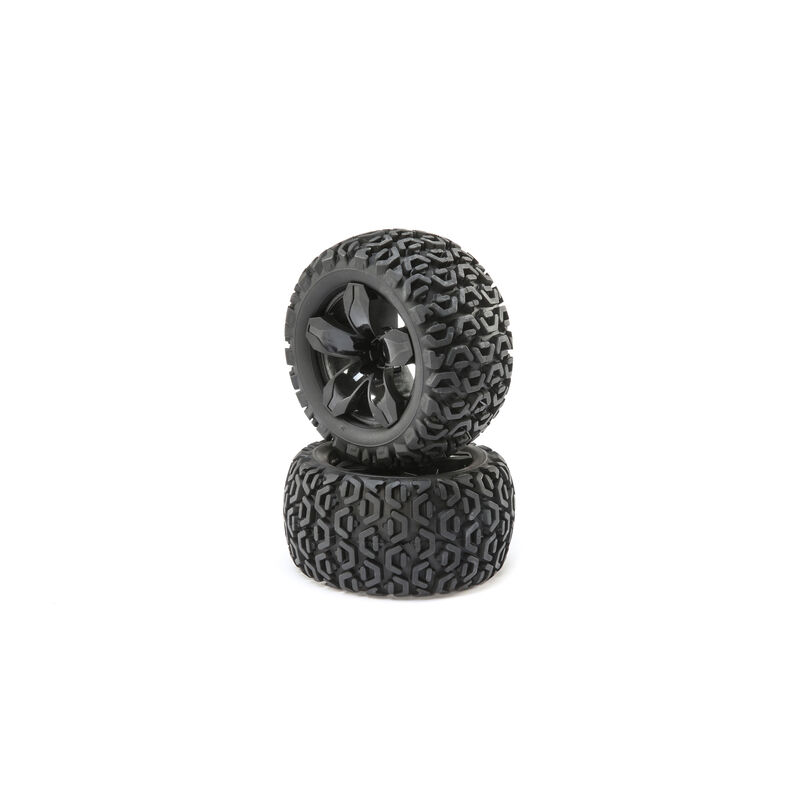 Front and Rear Wheel with Premounted Tire, Black (2): 1/10 2WD 4WD Ruckus