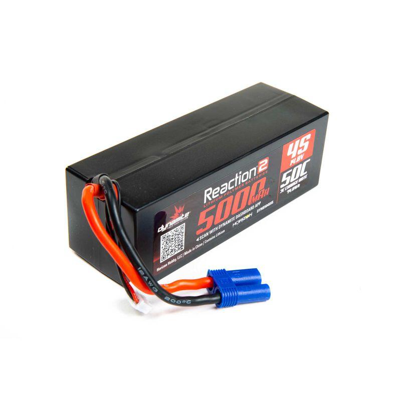 14.8V 5000mAh 4S 50C Reaction 2.0 Hardcase LiPo Battery: EC5