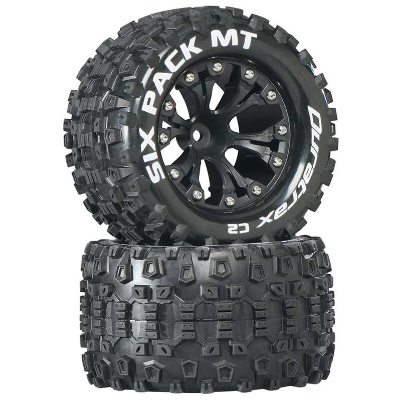 "Six-Pack MT 2.8"" 2WD Mounted 1/2"" Offset Tires, Black (2)"