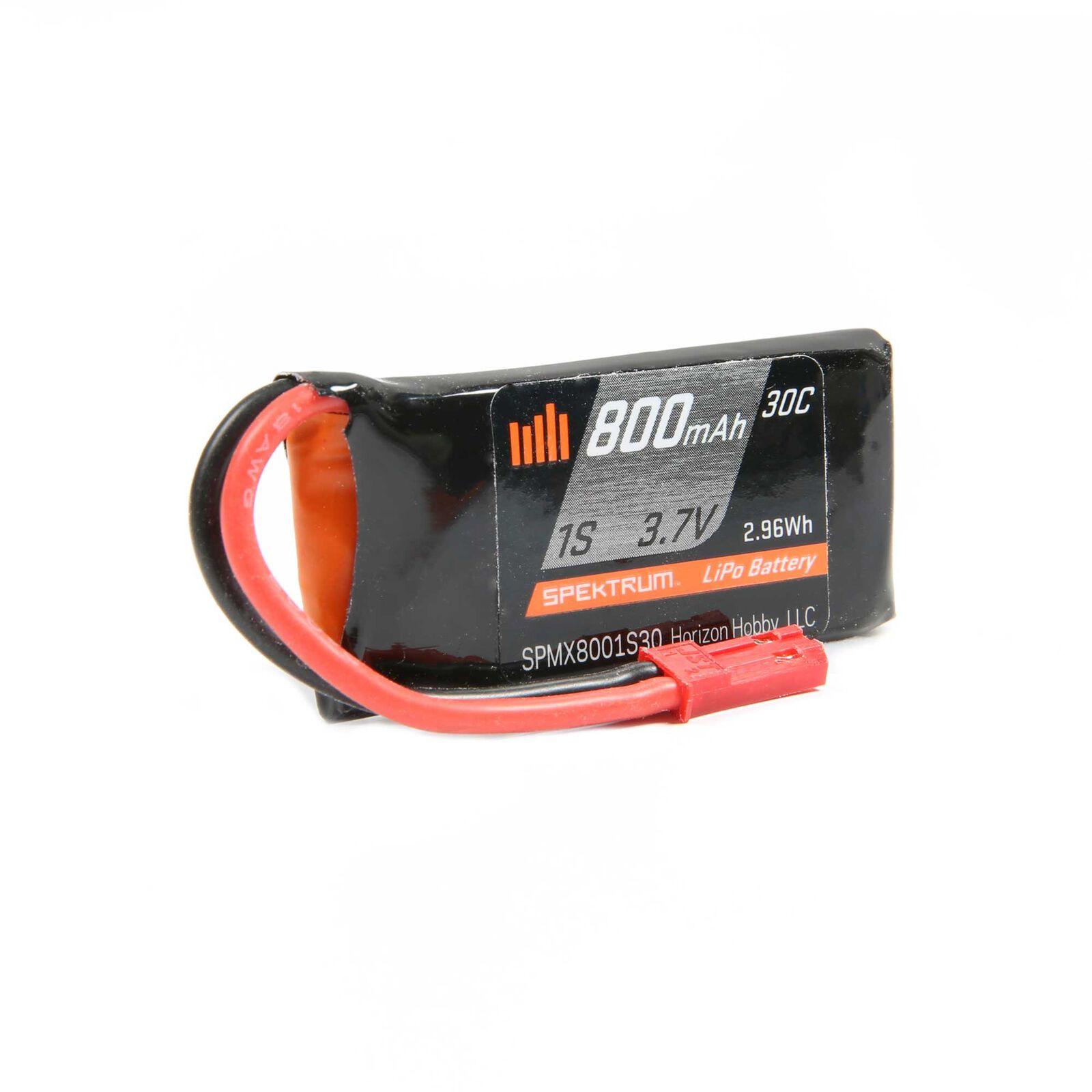 800mAh 1S 3.7V 30C LiPo Battery, JST