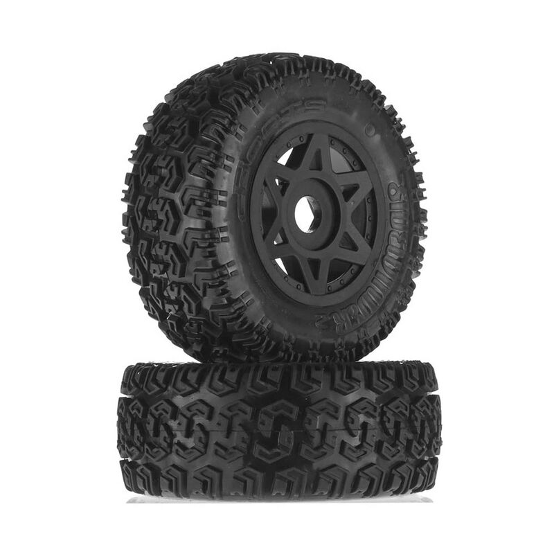 1/10 dBoots Sidewinder 2 Front/Rear 2.2/3.0 Pre-Mounted Tires, 17mm Hex, Black (2): 6S