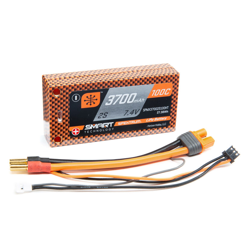 7.4V 3700mAh 2S 100C Smart Race Shorty Hardcase LiPo Battery: Tubes, 5mm