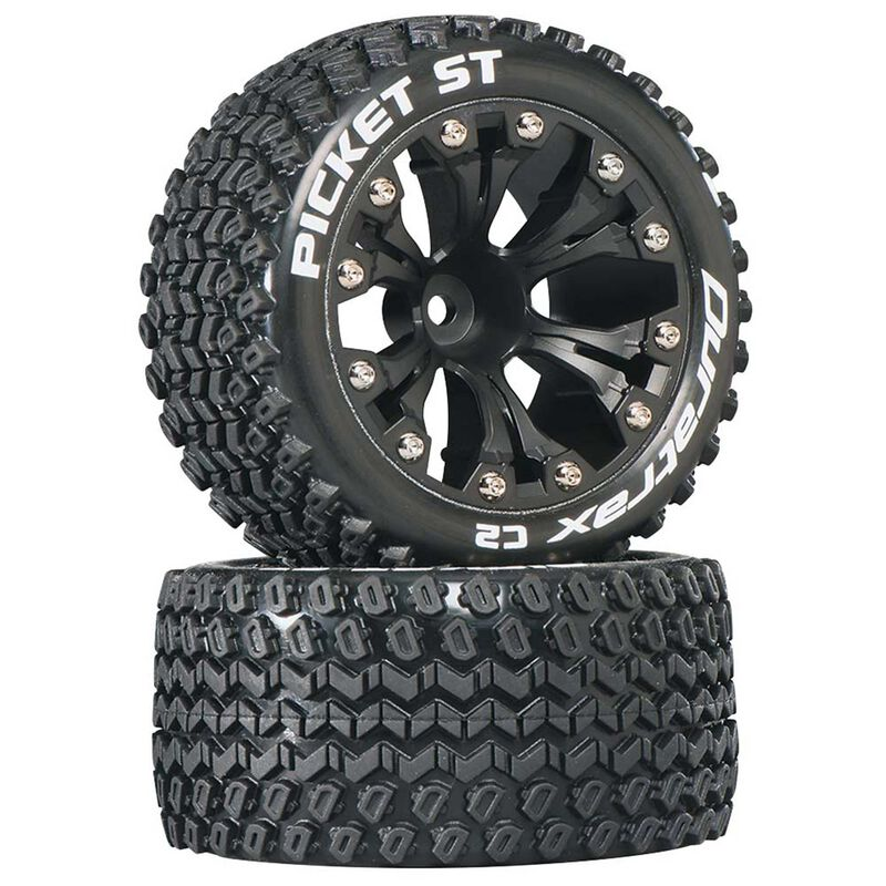 """Picket ST 2.8"""" 2WD Mounted 1/2"""" Offset Tires, Black (2)"""