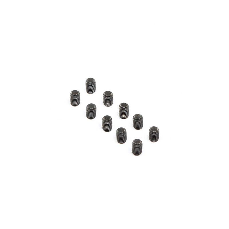 Set Screws, Steel, Black Oxide, Flat Point, M4 x 6mm (10)