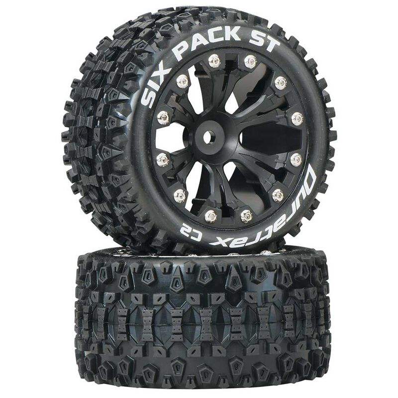 "Six Pack ST 2.8"" 2WD Mounted Rear C2 Tires, Black (2)"