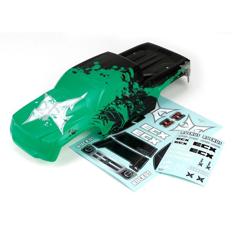 Body, Black/Green: 1/10 2WD Ruckus