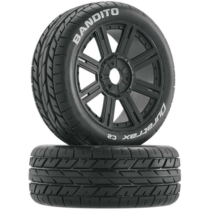 Bandito 1/8 Buggy Tire C2 Mounted Spoke Tires, Black (2)