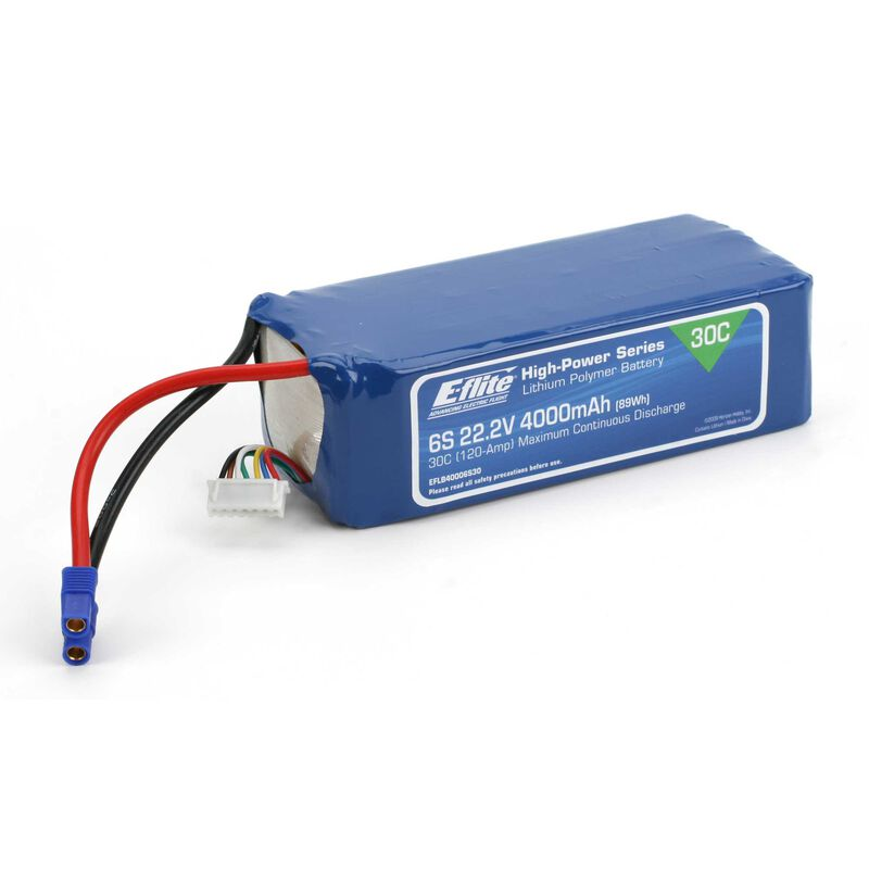 22.2V 4000mAh 6S 30C LiPo Battery: EC3