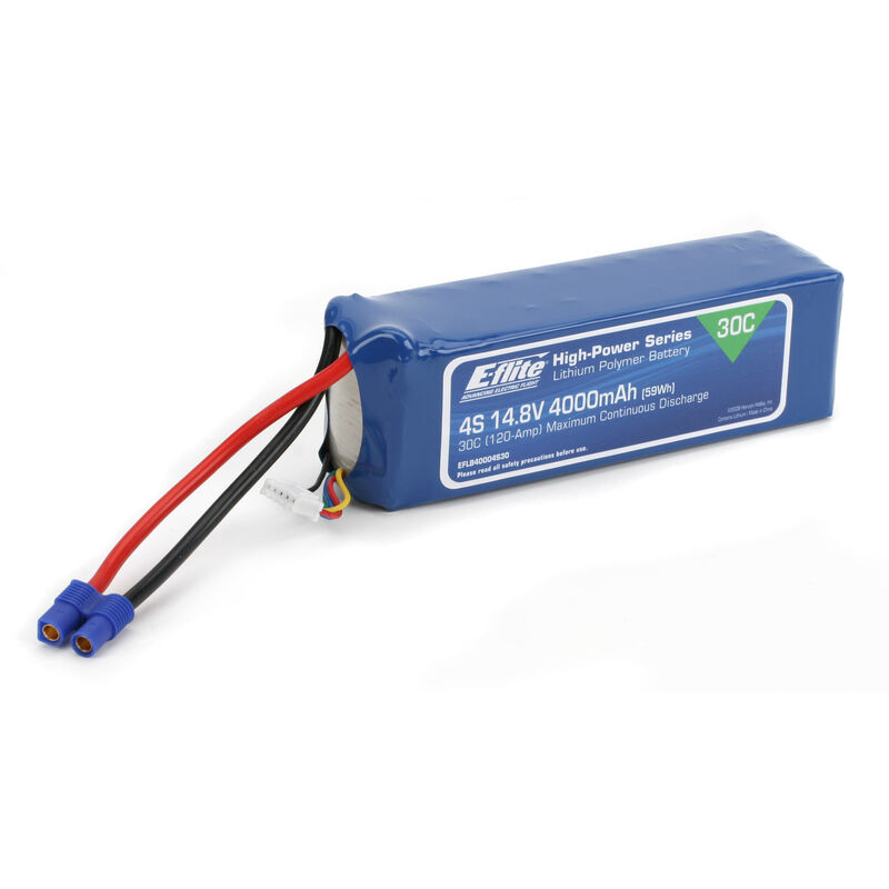14.8V 4000mAh 4S 30C LiPo Battery: EC3