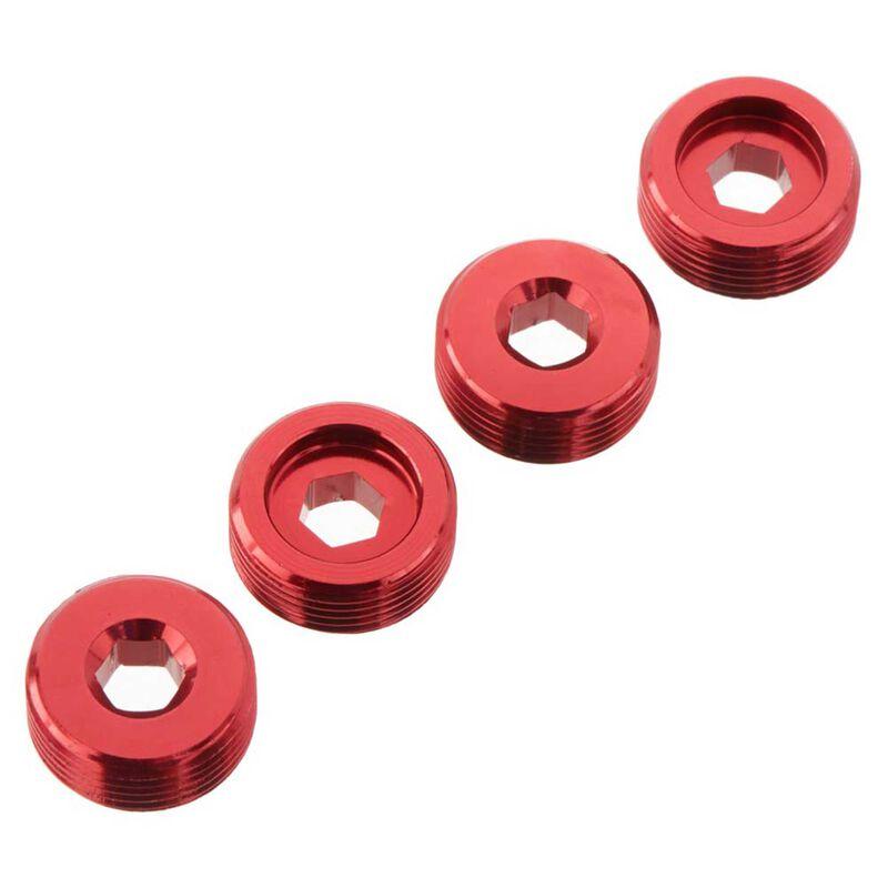 Nut Front Hub Aluminum Red (4)