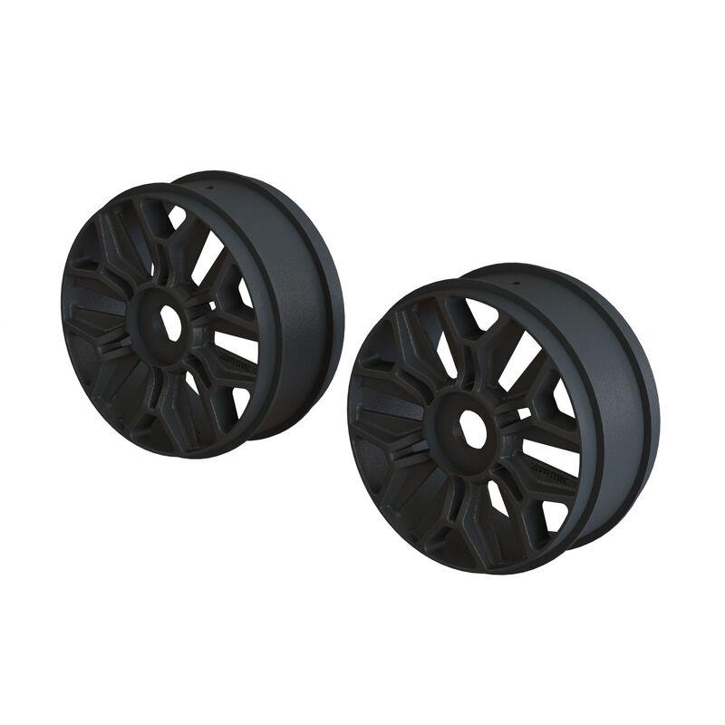 1/8 Front/Rear Buggy 3.3 Wheel, 17mm Hex, Black (2)