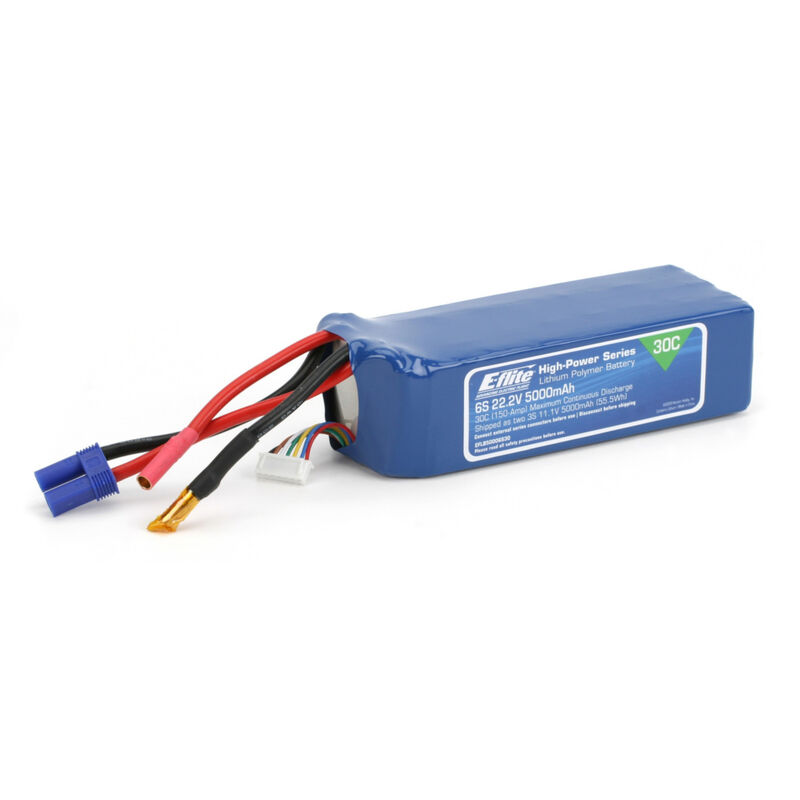 22.2V 5000mAh 6S 30C LiPo Battery: EC5