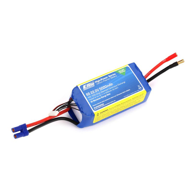 22.2V 5000mAh 6S 50C LiPo Battery: EC5