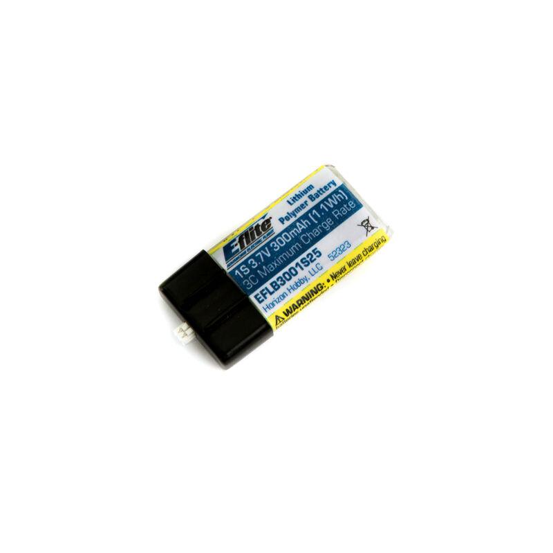300mAh 1S 3.7V 25C LiPo Battery: PH 1.5 (Ultra Micro)