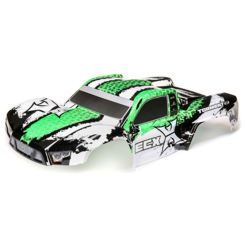 1/10 Painted Body, White/Green: 4WD Torment