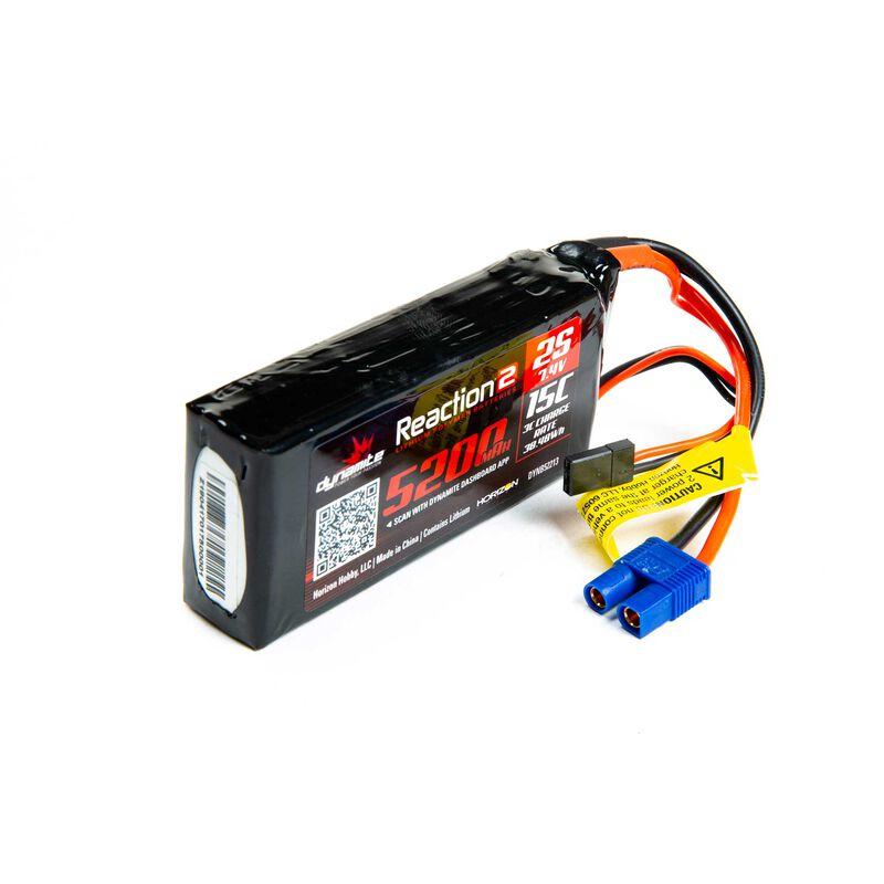 7.4V 5200mAh 2S 15C Reaction 2.0 LiPo Battery: Universal Receiver