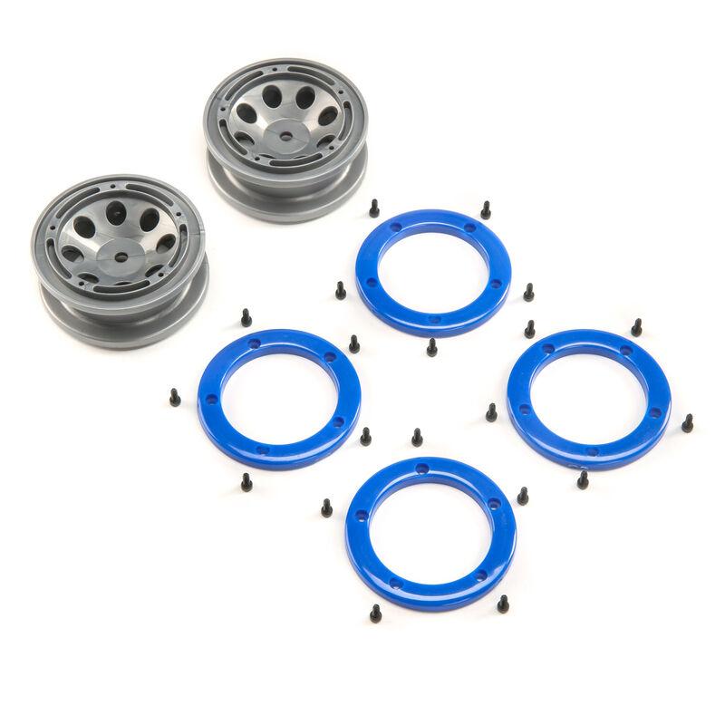 FR/RR Wheel with Beadlock Gray/Blue:  Temper G2