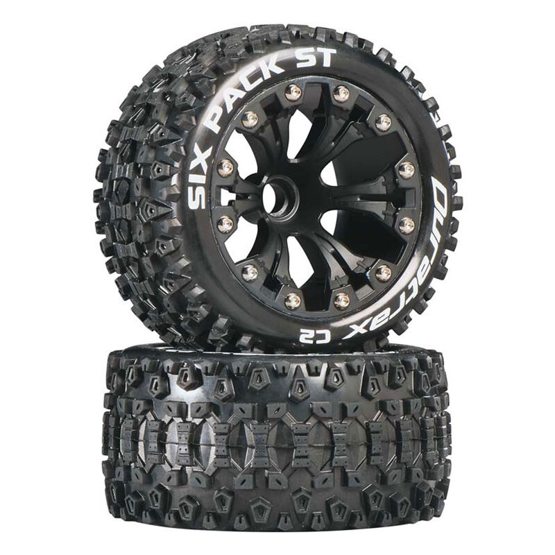 """Six Pack ST 2.8"""" 2WD Mounted Front C2 Tires, Black (2)"""