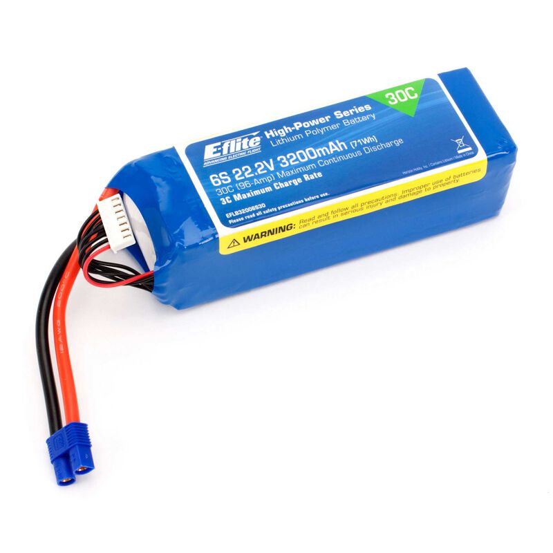 22.2V 3200mAh 6S 30C LiPo Battery: EC3