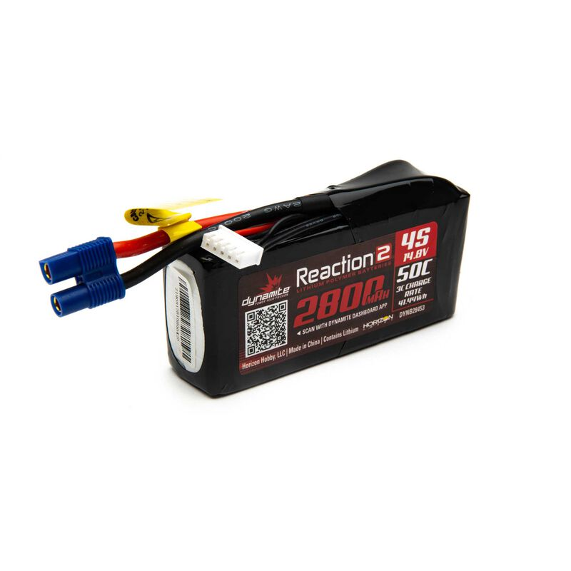 14.8V 2800mAh 4S 50C Reaction 2 LiPo Battery: EC3
