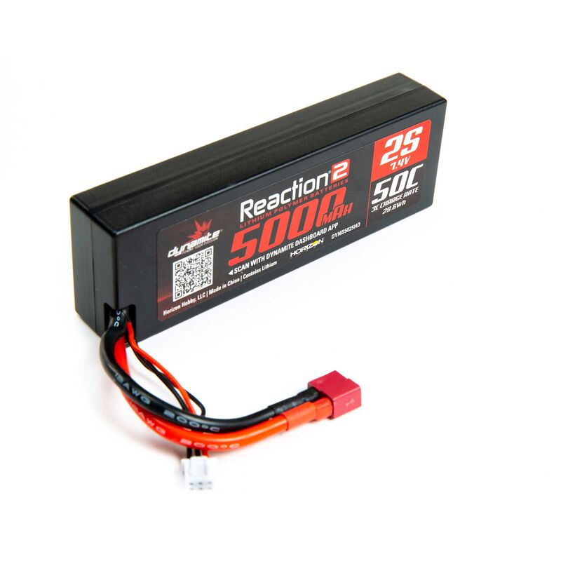 7.4V 5000mAh 2S 50C Reaction 2.0 Hardcase LiPo Battery: Deans