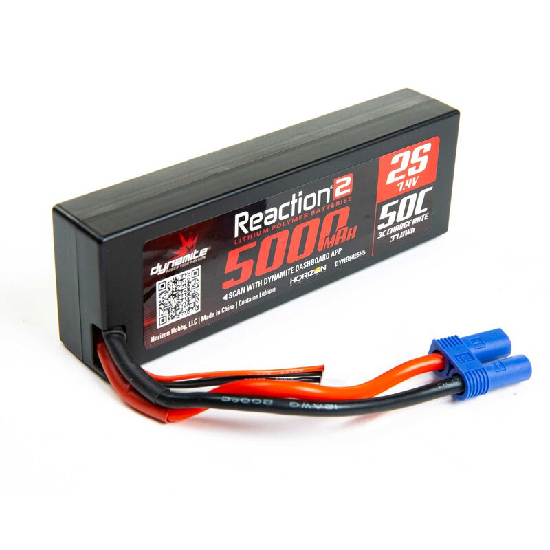 7.4V 5000mAh 2S 50C Reaction 2.0 Hardcase LiPo Battery: EC5