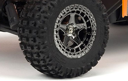 dBoots® FORTRESS MT Multi-terrain Tires on Black Chrome Multi-spoke Wheels