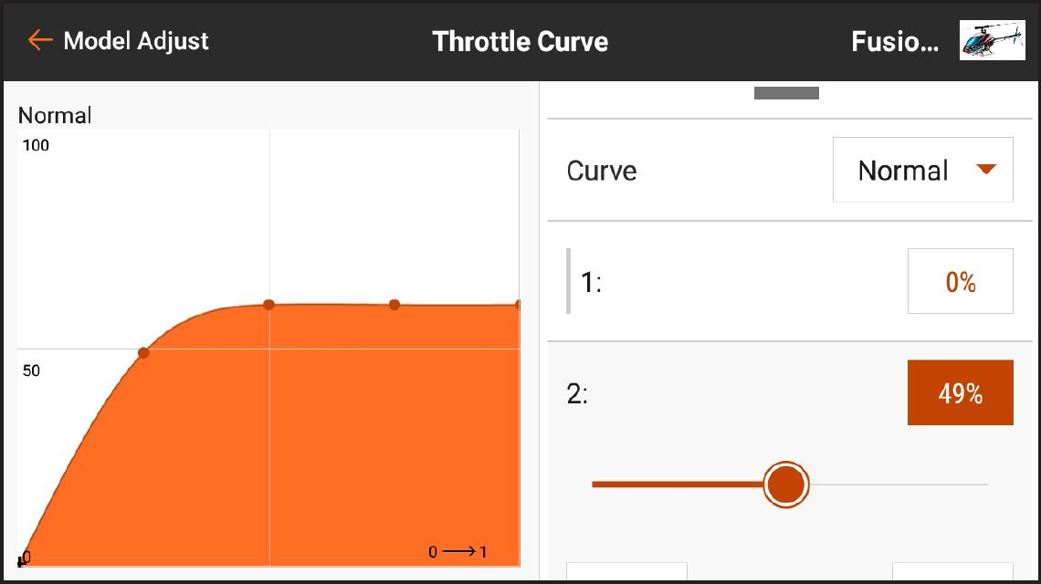 AirWare™ Touch app Throttle Curve
