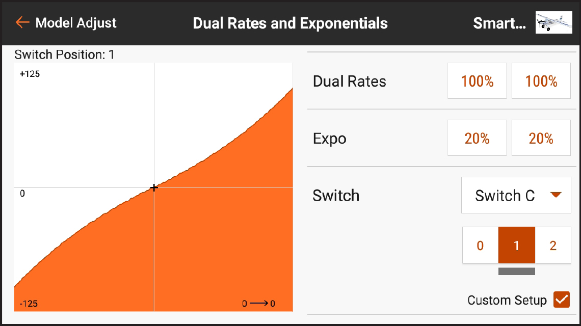 AirWare™ Touch app Dual Rates and Exponentials