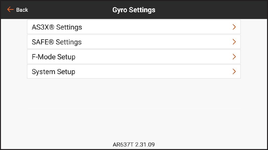 PROGRAMMING Gyro Settings
